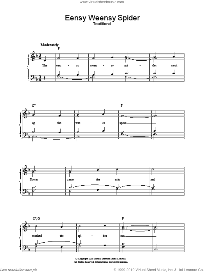 Eensy Weensy Spider sheet music for voice, piano or guitar. Score Image Preview.