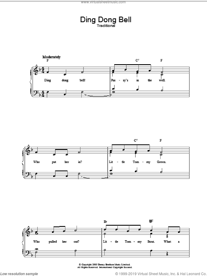 Ding Dong Bell sheet music for voice, piano or guitar. Score Image Preview.