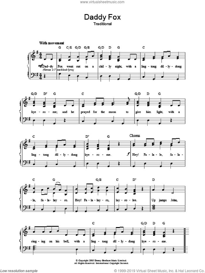 Daddy Fox sheet music for voice, piano or guitar, intermediate skill level