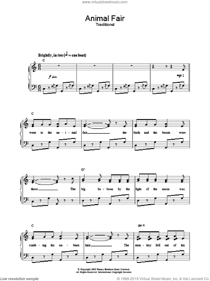 Animal Fair sheet music for voice, piano or guitar. Score Image Preview.