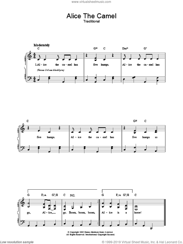 Alice The Camel sheet music for voice, piano or guitar. Score Image Preview.