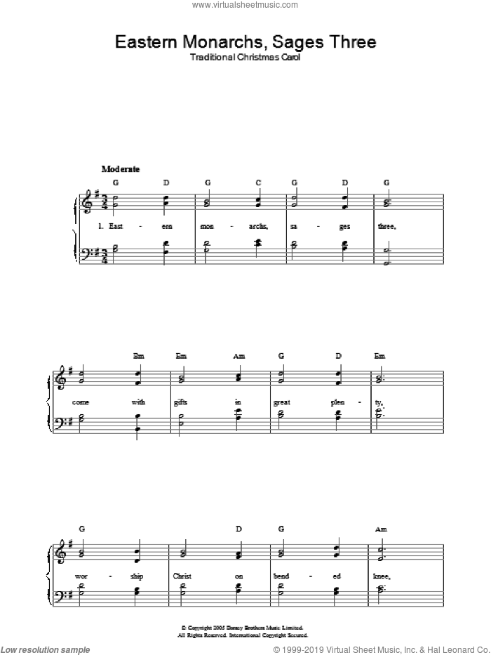 Eastern Monarchs, Sages Three sheet music for voice, piano or guitar. Score Image Preview.