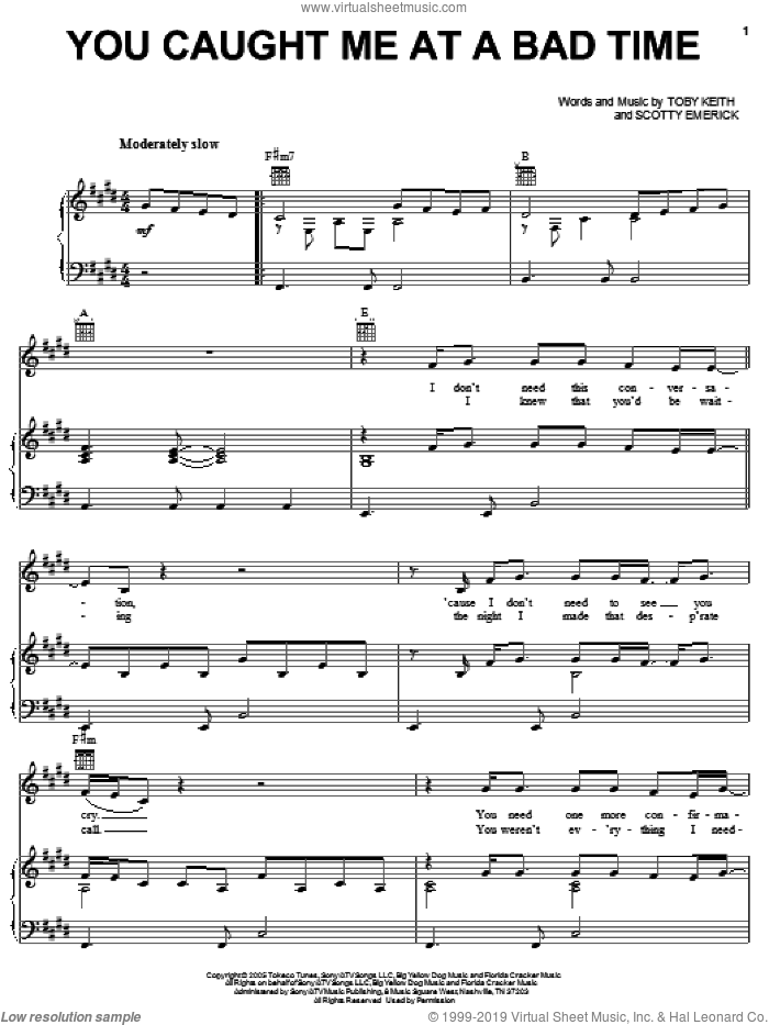 You Caught Me At A Bad Time sheet music for voice, piano or guitar by Toby Keith and Scotty Emerick, intermediate. Score Image Preview.