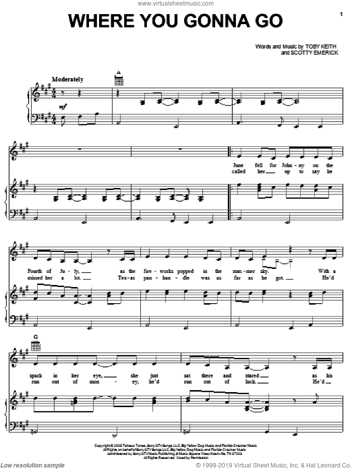 Where You Gonna Go sheet music for voice, piano or guitar by Toby Keith and Scotty Emerick, intermediate skill level