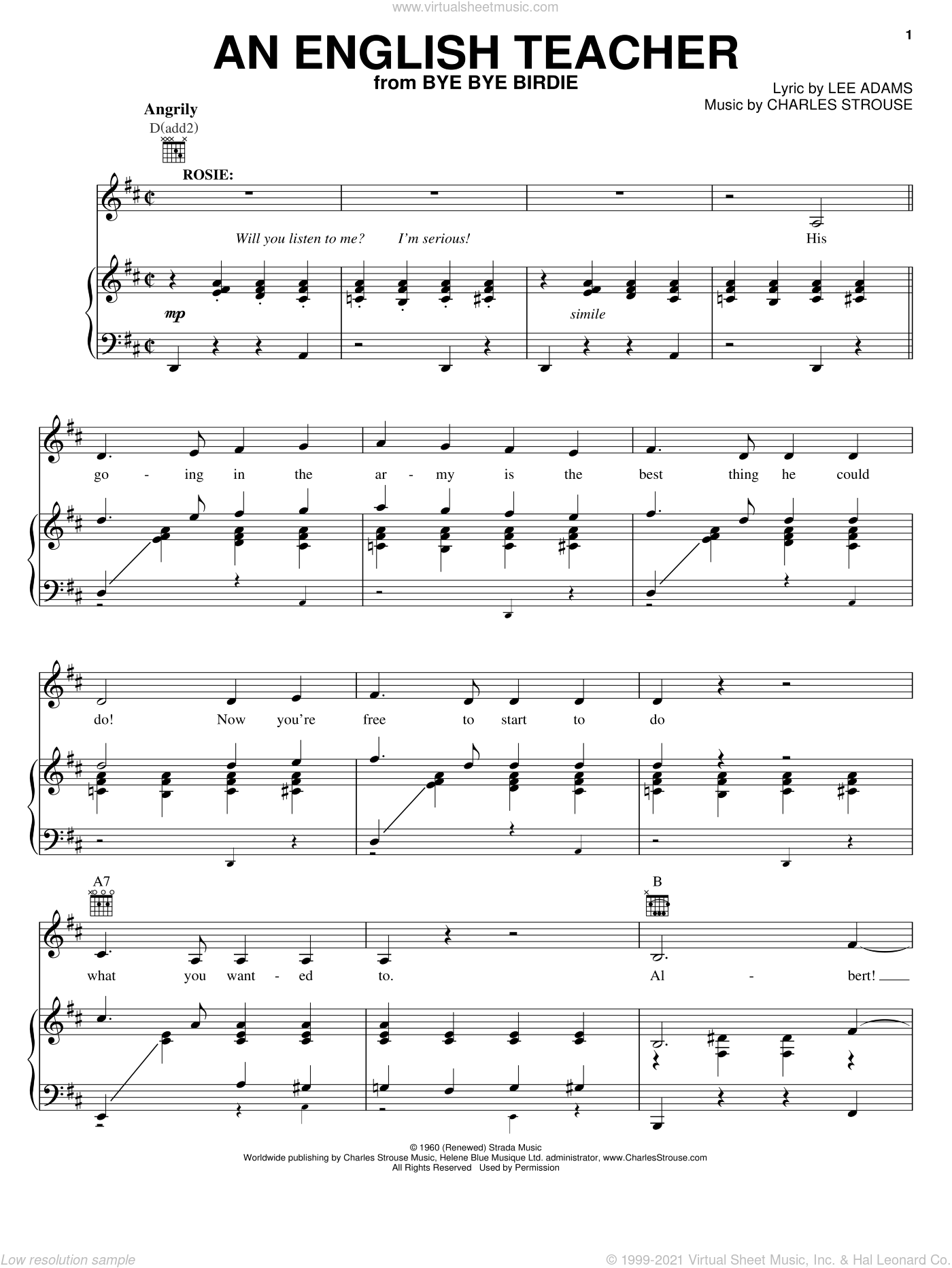An English Teacher sheet music for voice, piano or guitar by Charles Strouse and Lee Adams, intermediate voice, piano or guitar. Score Image Preview.