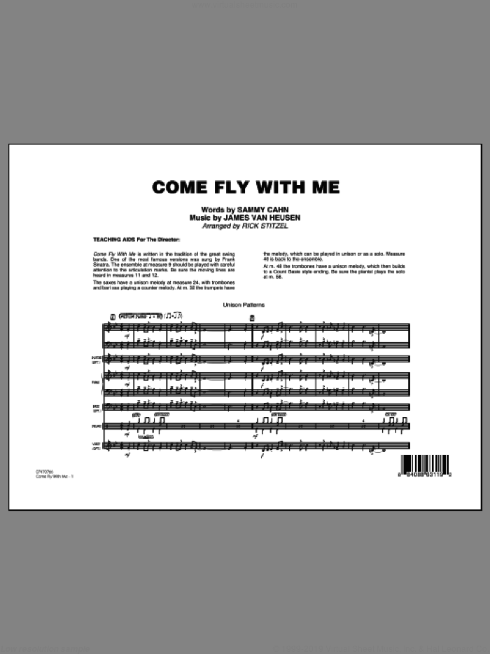 Come Fly With Me (COMPLETE) sheet music for jazz band by Frank Sinatra, Jimmy van Heusen, Rick Stitzel and Sammy Cahn, intermediate skill level