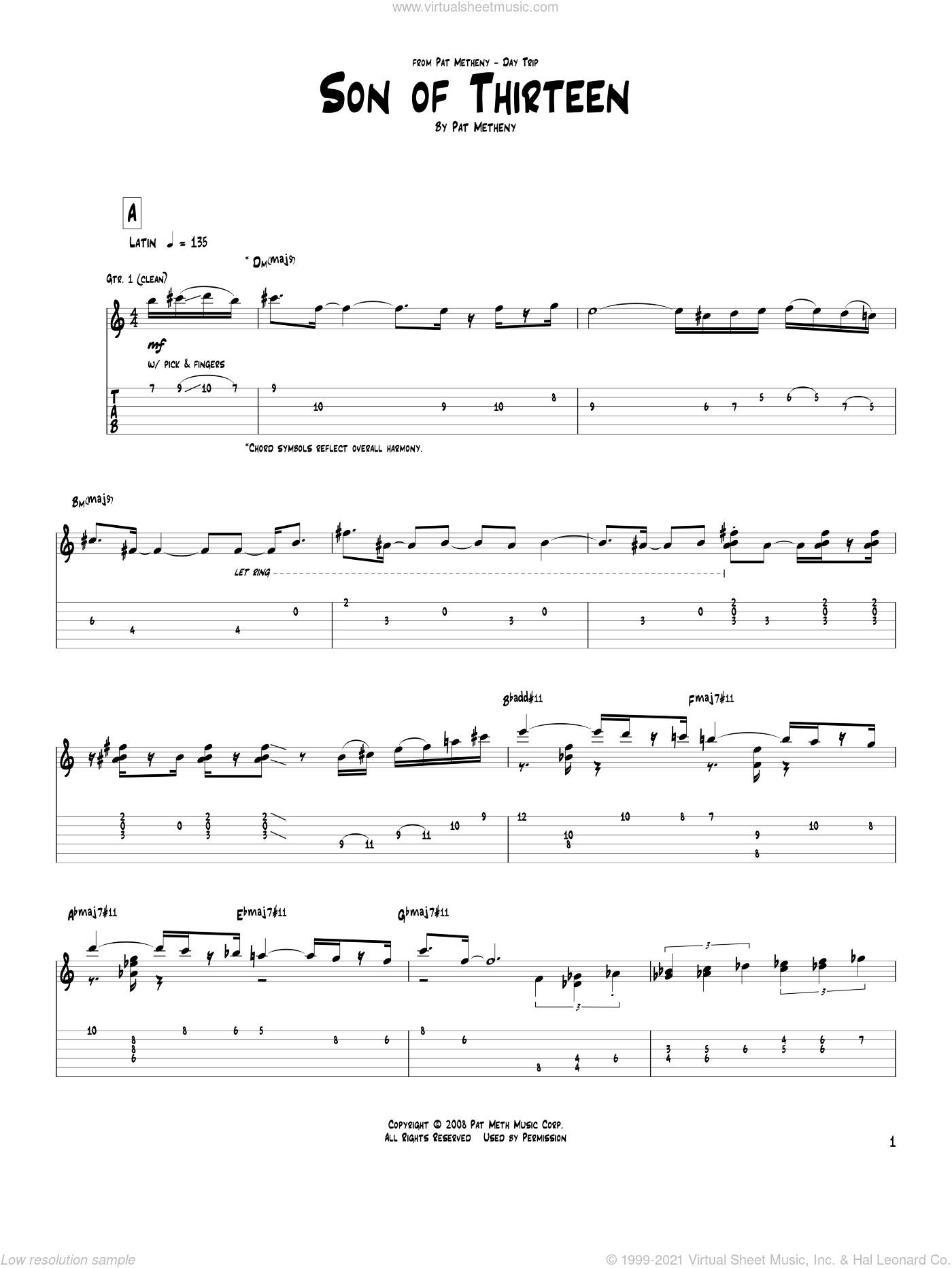 Son Of Thirteen sheet music for guitar (tablature) by Pat Metheny, intermediate skill level