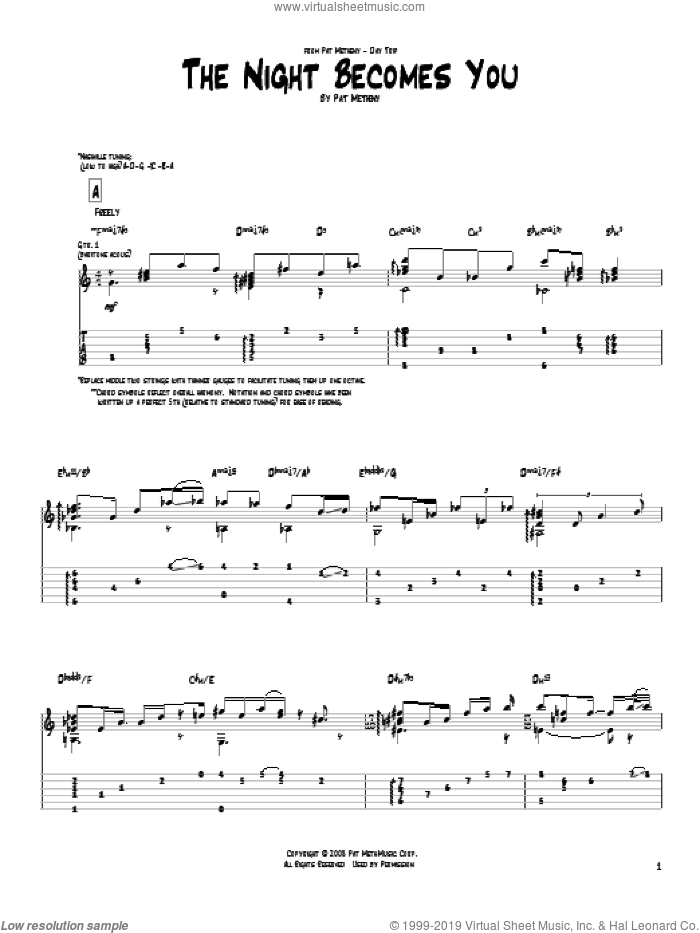 The Night Becomes You sheet music for guitar (tablature) by Pat Metheny. Score Image Preview.