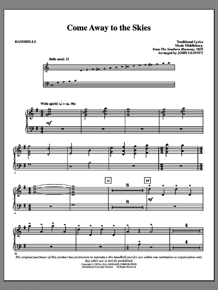 Come Away To The Skies sheet music for handbells by John Leavitt