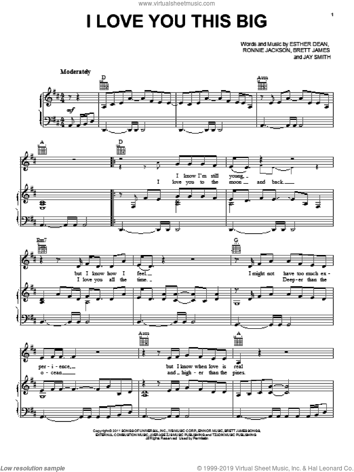 I Love You This Big sheet music for voice, piano or guitar by Scotty McCreery, Brett James, Ester Dean, Jay Smith and Ronnie Jackson, intermediate. Score Image Preview.