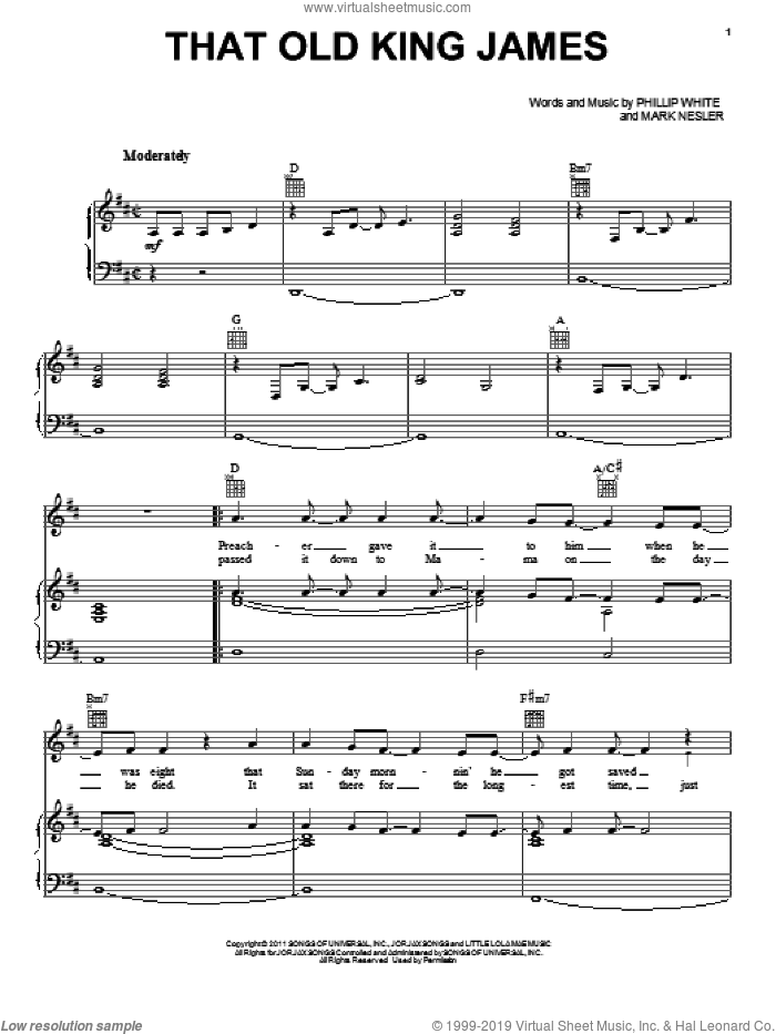 That Old King James sheet music for voice, piano or guitar by Phillip White