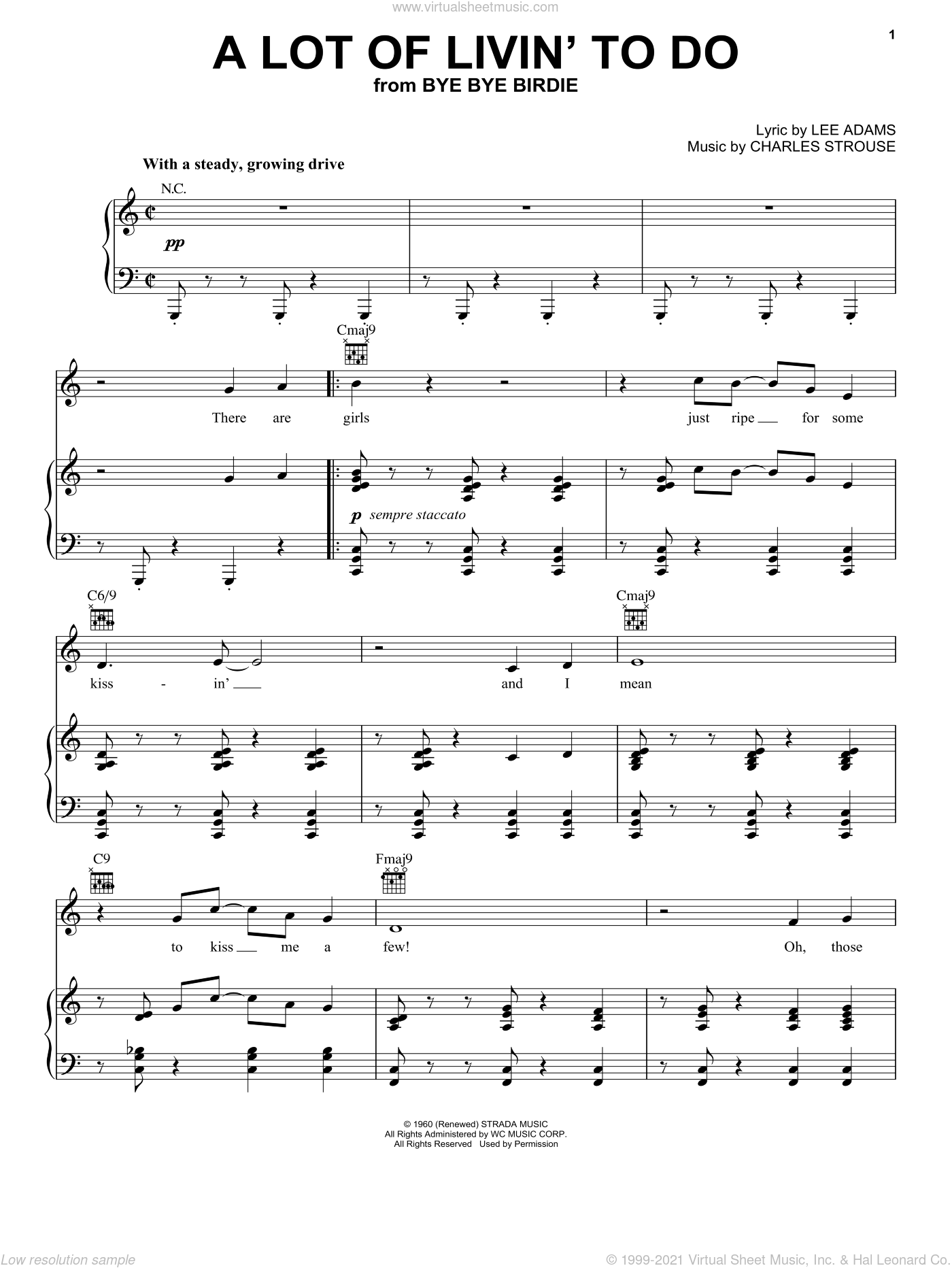 A Lot Of Livin' To Do sheet music for voice, piano or guitar by Charles Strouse, Bye Bye Birdie (Musical) and Lee Adams, intermediate skill level