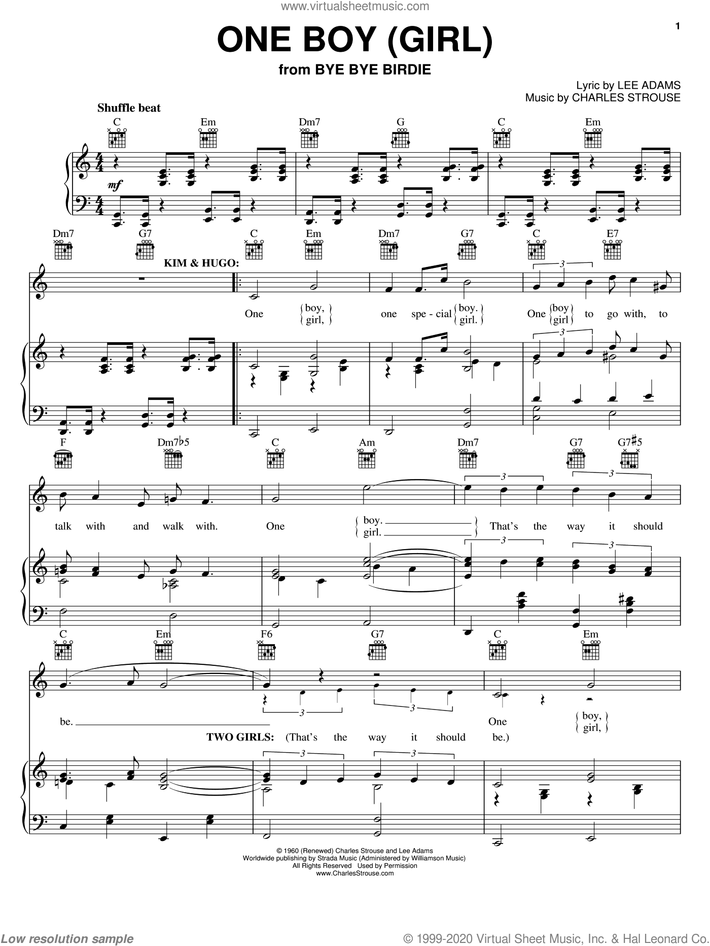 One Boy (Girl) sheet music for voice, piano or guitar by Charles Strouse and Lee Adams, intermediate voice, piano or guitar. Score Image Preview.