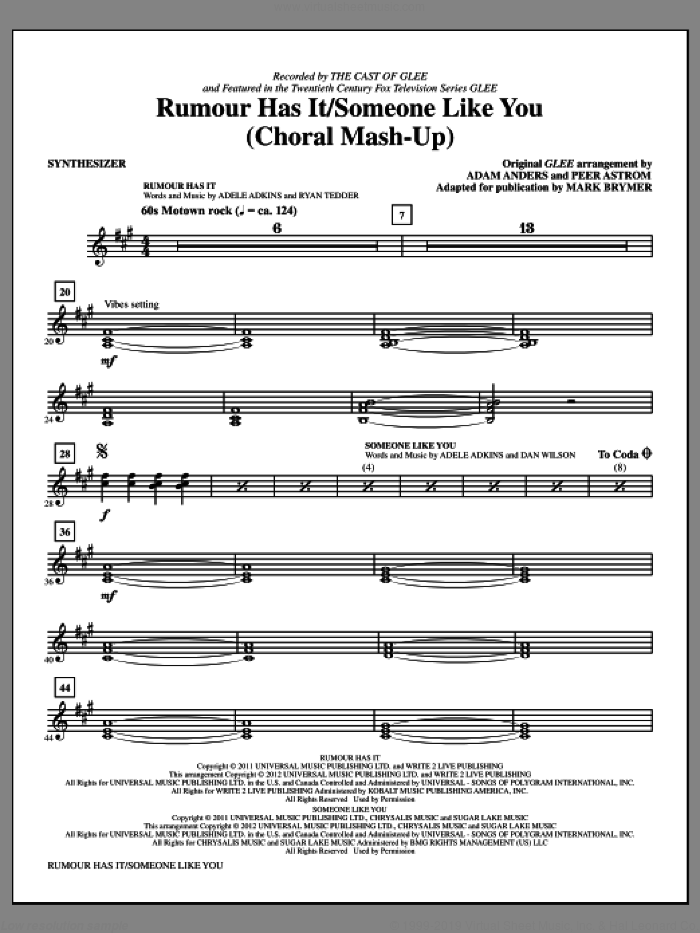 Rumour Has It / Someone Like You (complete set of parts) sheet music for orchestra/band (Rhythm) by Mark Brymer, Adele Adkins, Dan Wilson, Ryan Tedder, Adam Anders, Adele, Glee Cast, Miscellaneous and Peer Astrom, intermediate skill level