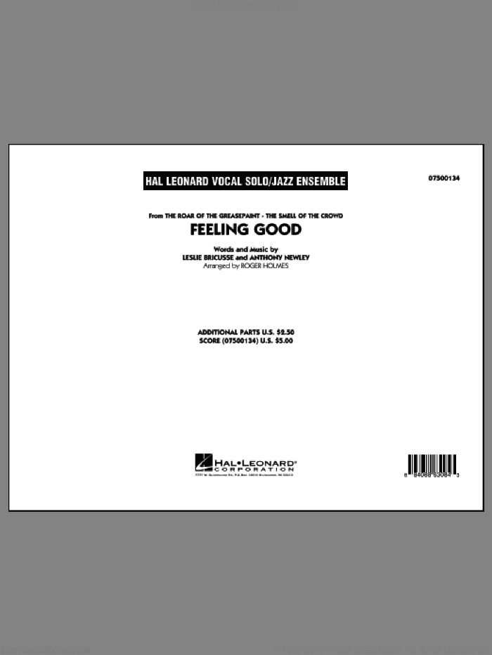 Feeling Good (COMPLETE) sheet music for jazz band by Leslie Bricusse, Anthony Newley, Michael Buble and Roger Holmes. Score Image Preview.