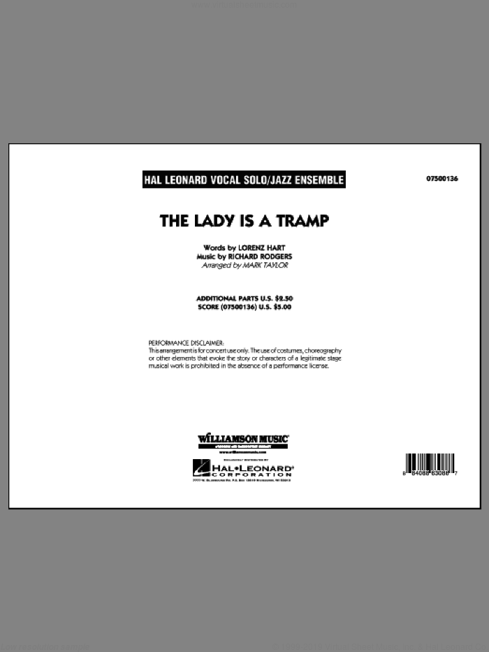 The Lady Is A Tramp (COMPLETE) sheet music for jazz band by Richard Rodgers, Lorenz Hart and Mark Taylor, intermediate. Score Image Preview.