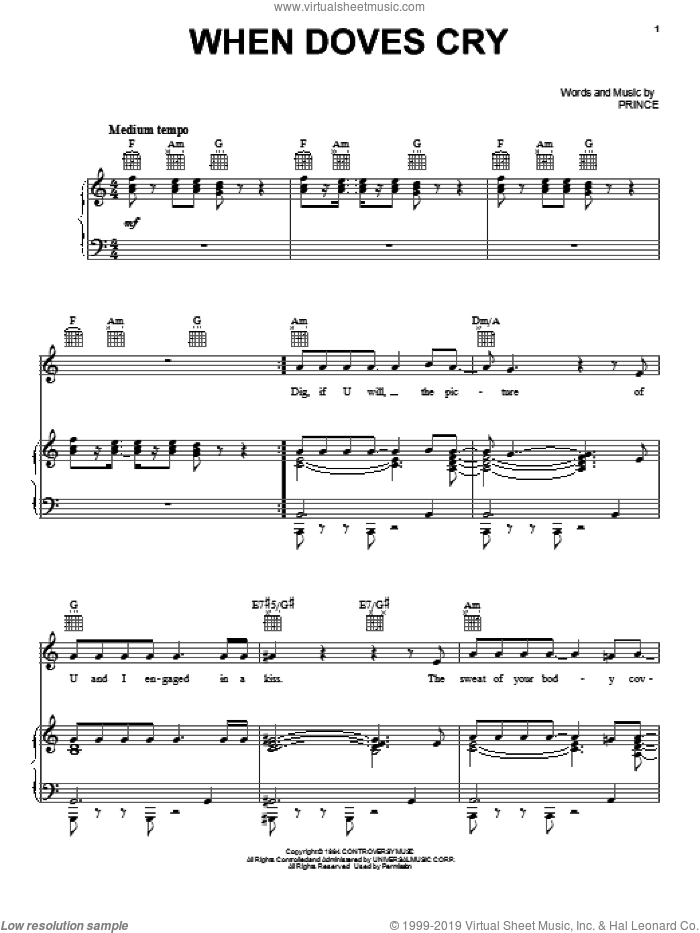 When Doves Cry sheet music for voice, piano or guitar by Prince and Prince & The Revolution, intermediate skill level