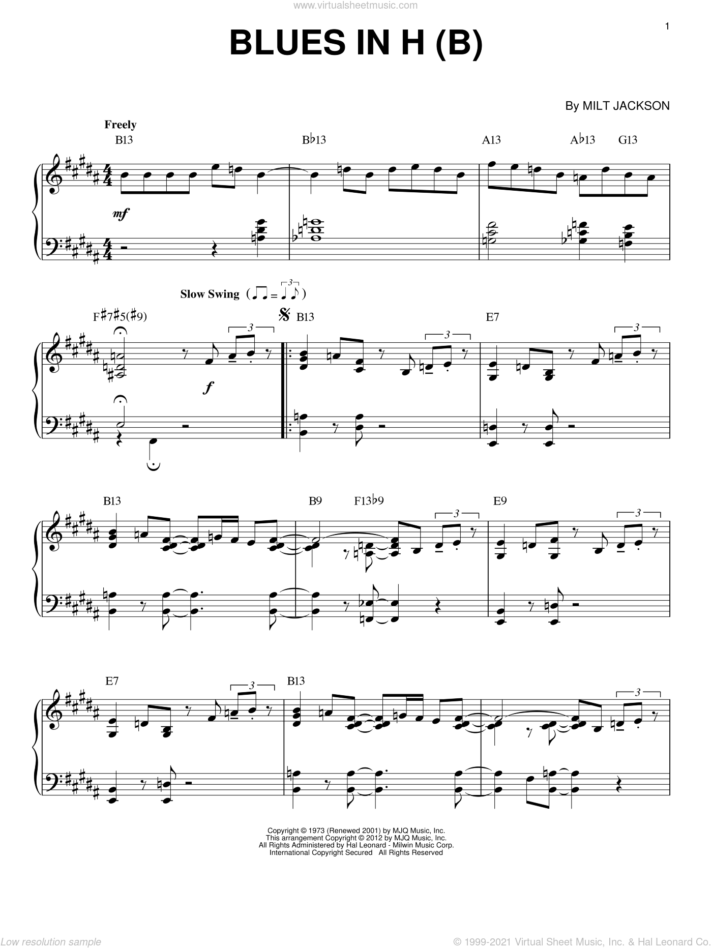 Blues In H (B) (arr. Brent Edstrom) sheet music for piano solo by Modern Jazz Quartet and Milt Jackson, intermediate skill level