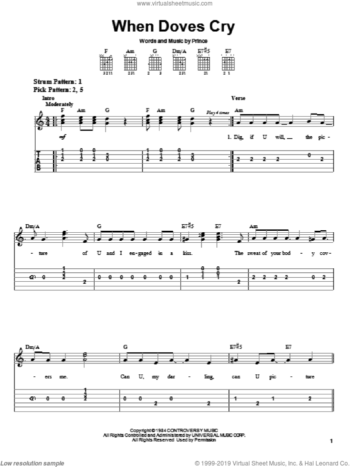 When Doves Cry sheet music for guitar solo (easy tablature) by Prince and Prince & The Revolution, easy guitar (easy tablature)