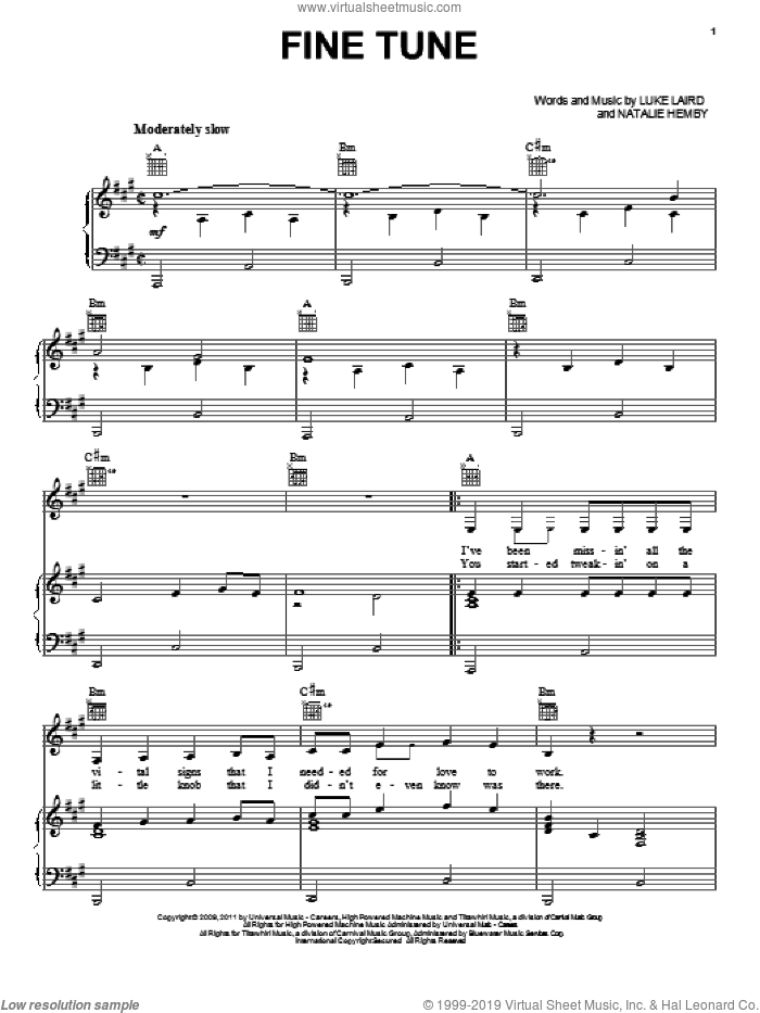 Fine Tune sheet music for voice, piano or guitar by Miranda Lambert, Luke Laird and Natalie Hemby. Score Image Preview.