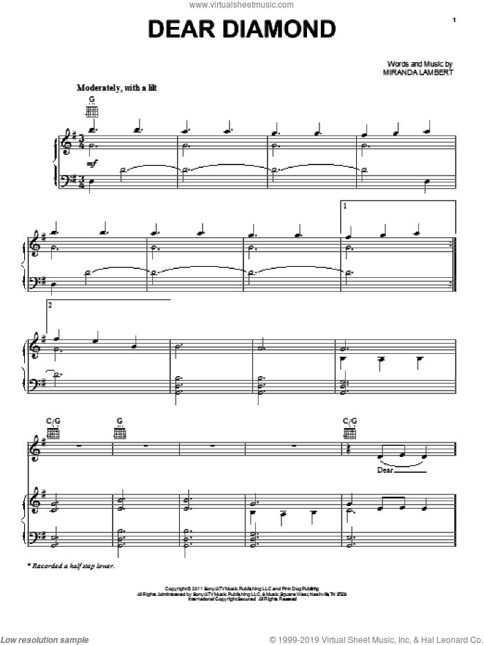 Dear Diamond sheet music for voice, piano or guitar by Miranda Lambert. Score Image Preview.