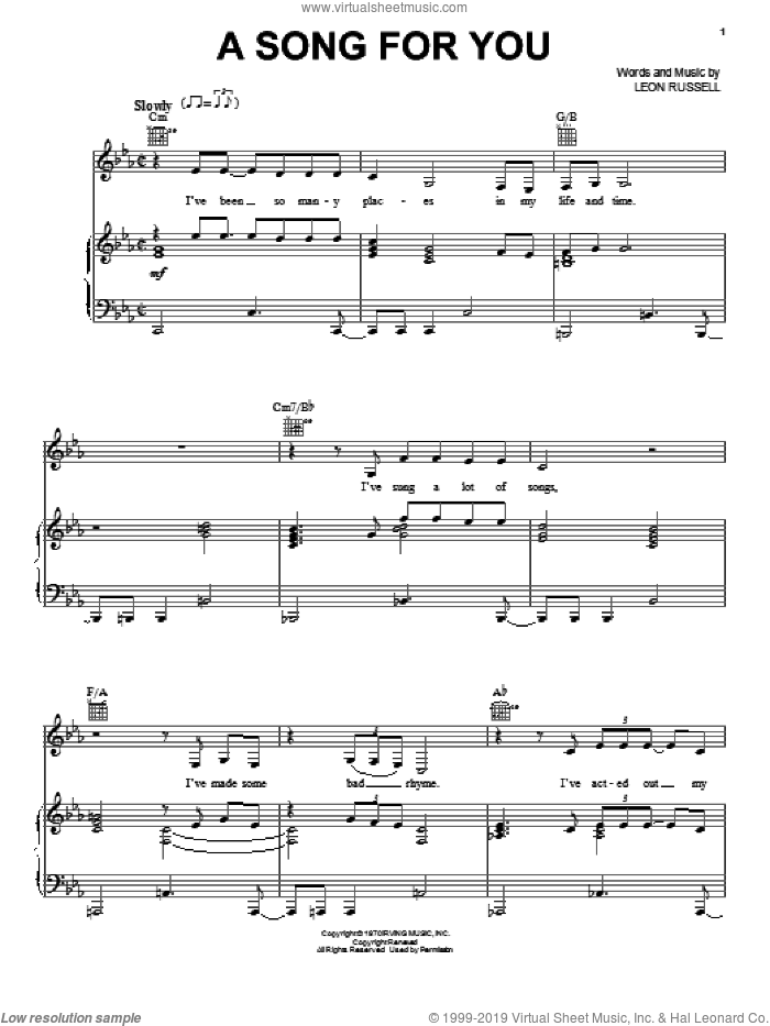 A Song For You sheet music for voice, piano or guitar by Amy Winehouse and Leon Russell. Score Image Preview.