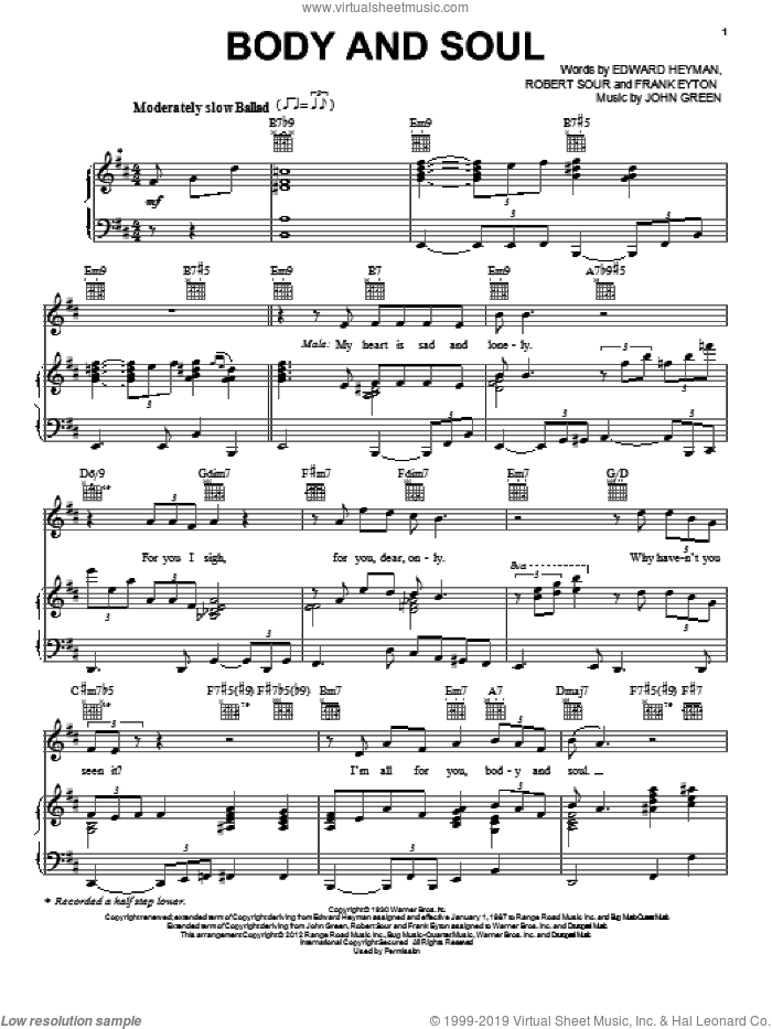 Body And Soul sheet music for voice, piano or guitar by Tony Bennett & Amy Winehouse, Amy Winehouse, Edward Heyman, Frank Eyton, Johnny Green and Robert Sour, intermediate