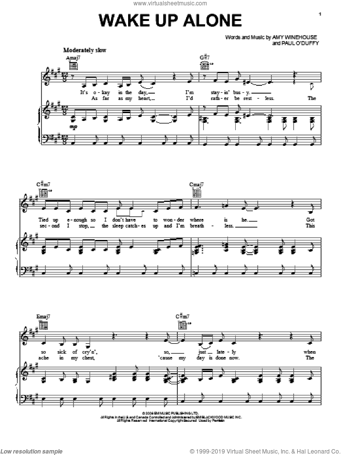 Wake Up Alone sheet music for voice, piano or guitar by Amy Winehouse, intermediate skill level