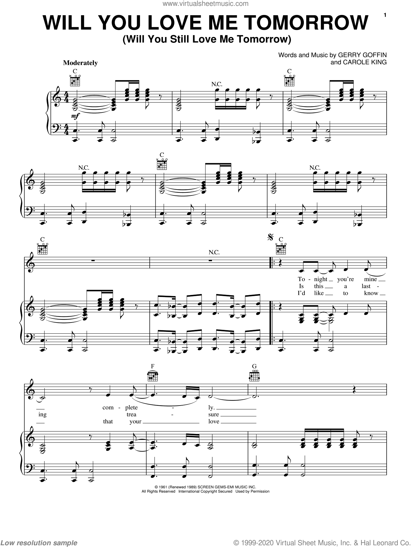 Will You Love Me Tomorrow (Will You Still Love Me Tomorrow) sheet music for voice, piano or guitar by Amy Winehouse, Carole King and Gerry Goffin, intermediate