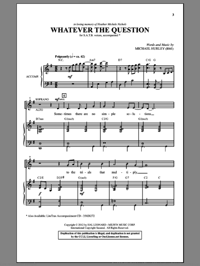 Whatever The Question sheet music for choir (SATB: soprano, alto, tenor, bass) by Michael Hurley, intermediate. Score Image Preview.