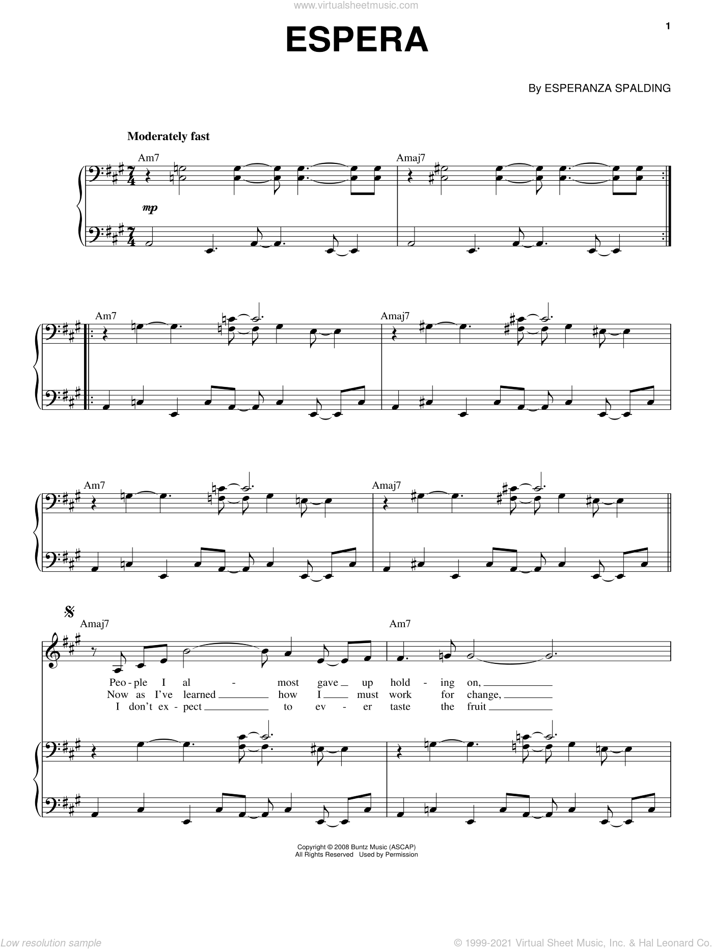 Espera sheet music for voice and piano by Esperanza Spalding. Score Image Preview.