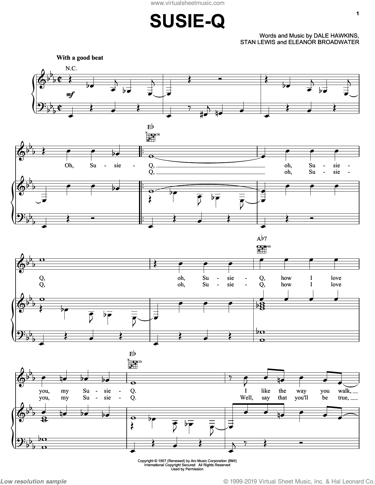 Susie-Q sheet music for voice, piano or guitar by Creedence Clearwater Revival, Dale Hawkins, Eleanor Broadwater and Stan Lewis, intermediate skill level