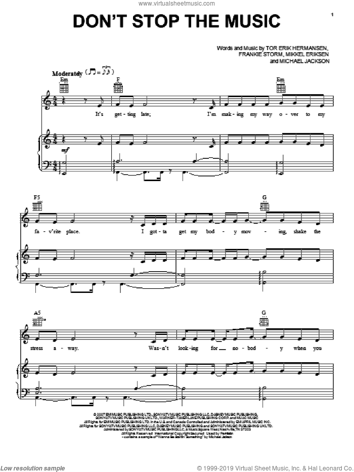 Don't Stop The Music sheet music for voice, piano or guitar by Jamie Cullum, Frankie Storm, Michael Jackson, Mikkel Eriksen and Tor Erik Hermansen, intermediate skill level