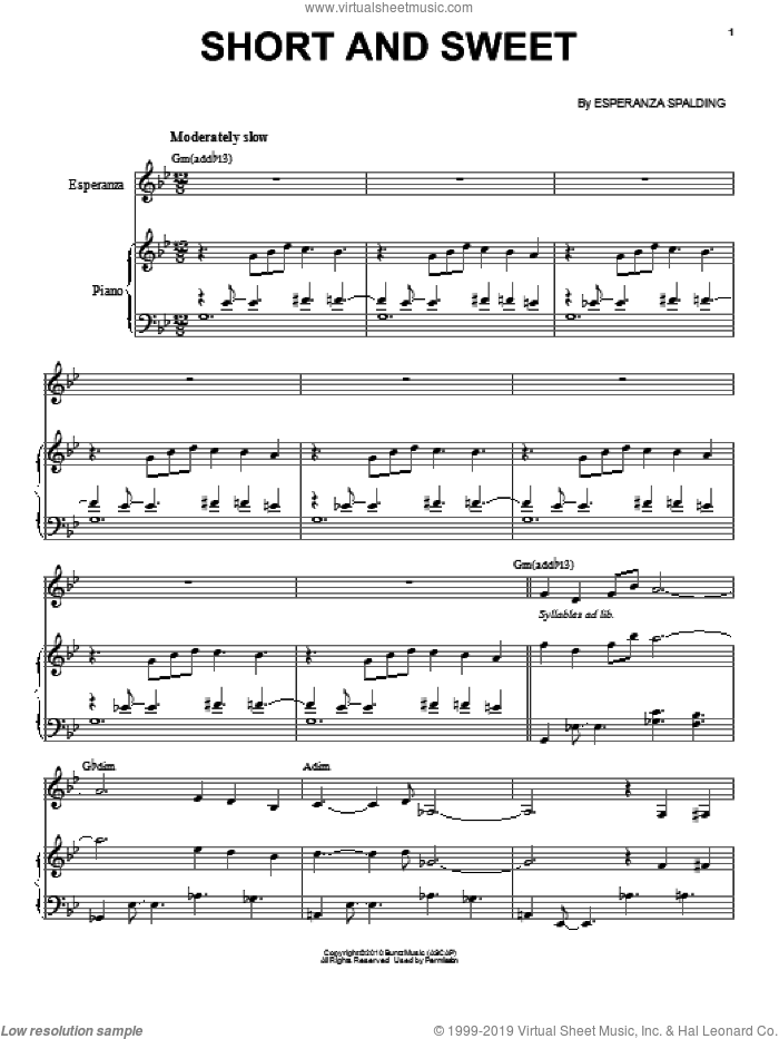 Short And Sweet sheet music for voice and piano by Esperanza Spalding, intermediate skill level