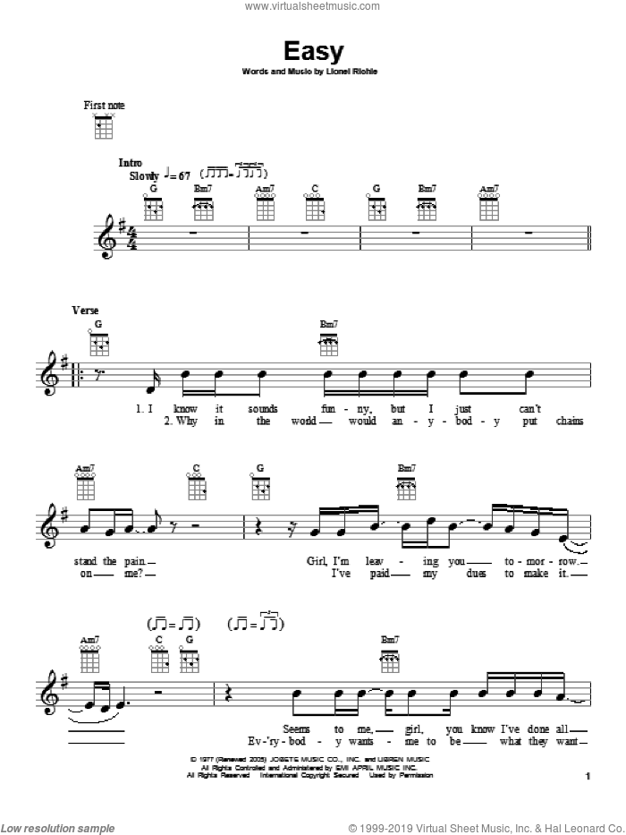Easy sheet music for ukulele by The Commodores and Lionel Richie, intermediate. Score Image Preview.