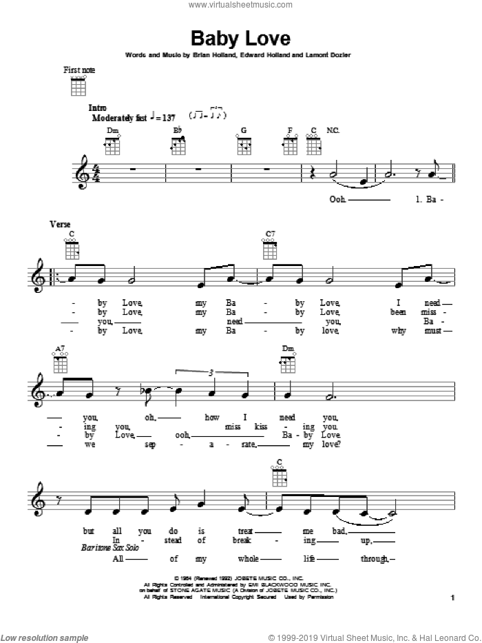Baby Love sheet music for ukulele by Lamont Dozier, Brian Holland and Eddie Holland. Score Image Preview.