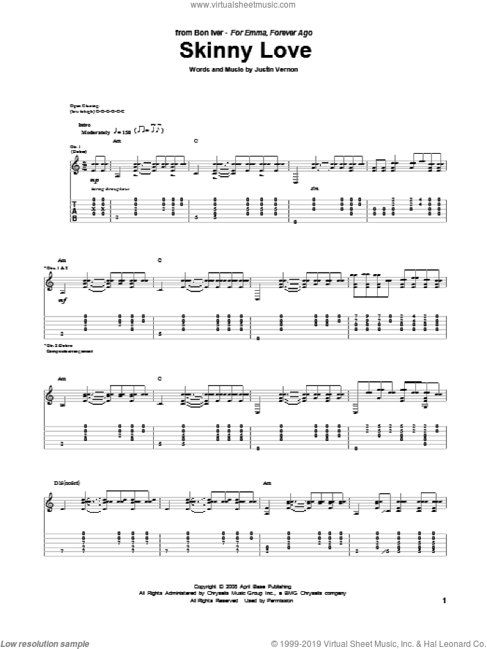 Skinny Love sheet music for guitar (tablature) by Justin Vernon