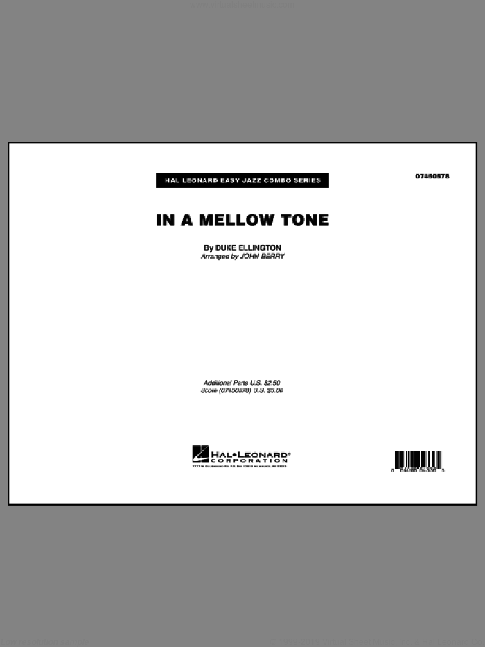 In A Mellow Tone (COMPLETE) sheet music for jazz band by Duke Ellington and John Berry, intermediate. Score Image Preview.