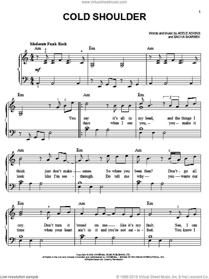 Cold Shoulder sheet music for piano solo by Adele, Adele Adkins and Sacha Skarbek, easy skill level