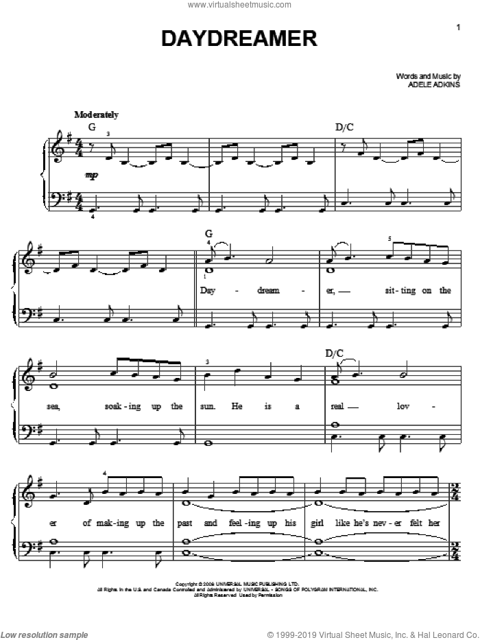 Daydreamer sheet music for piano solo by Adele Adkins and Adele. Score Image Preview.