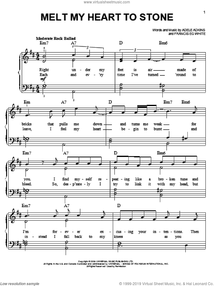 Melt My Heart To Stone sheet music for piano solo by Francis White, Adele and Adele Adkins. Score Image Preview.