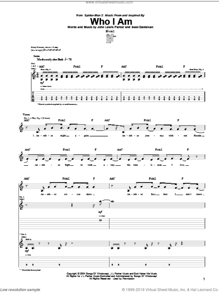 Who I Am sheet music for guitar (tablature) by Smile Empty Soul, Spider-Man 2 (Movie), John Parker and Sean Danielsen, intermediate skill level
