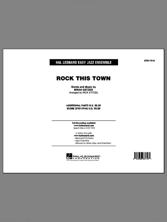 Rock This Town (COMPLETE) sheet music for jazz band by Brian Setzer, Rick Stitzel and Stray Cats, intermediate skill level