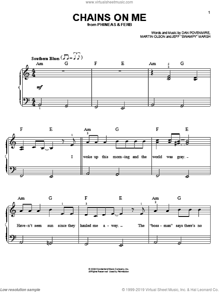 Chains On Me sheet music for piano solo by Danny Jacob, Phineas And Ferb, Dan Povenmire, Jeff 'Swampy' Marsh and Martin Olson, easy skill level