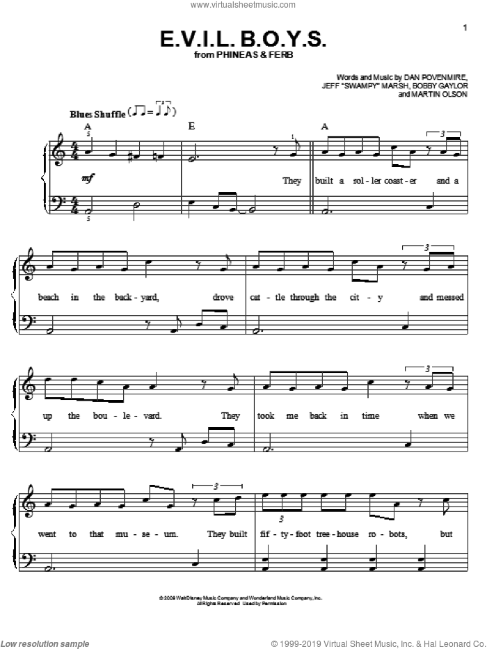 E.V.I.L. B.O.Y.S. sheet music for piano solo (chords) by Martin Olson