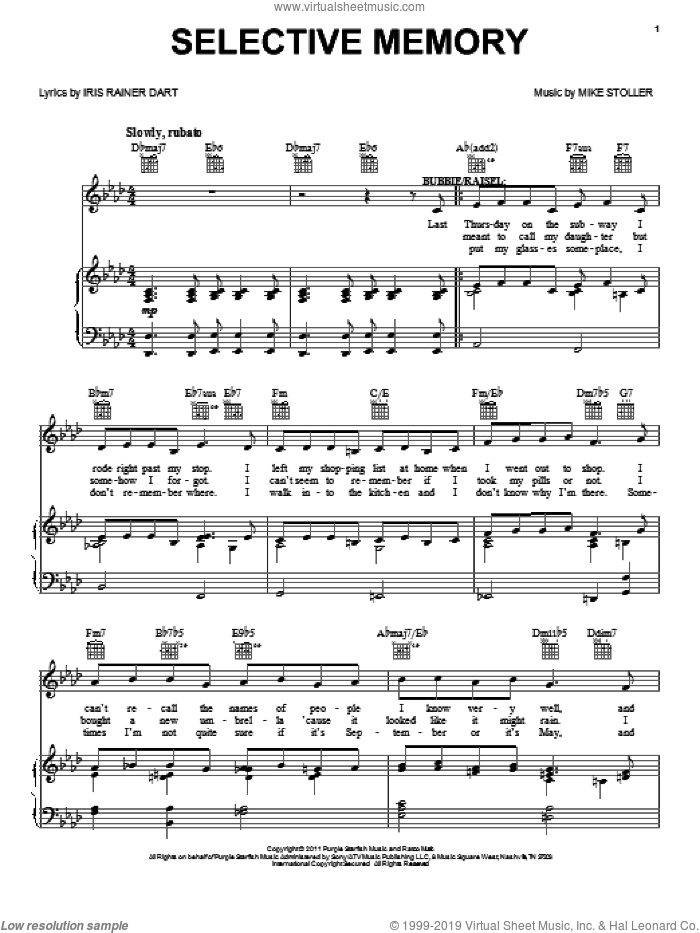 Selective Memory sheet music for voice, piano or guitar by Mike Stoller, Artie Butler, The People In The Picture (Musical) and Iris Rainer Dart, intermediate