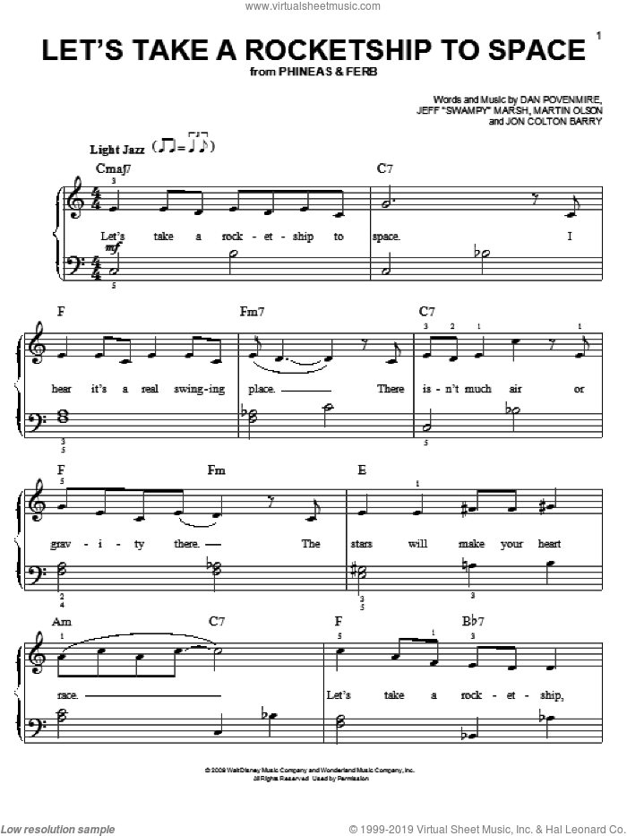 Let's Take A Rocketship To Space sheet music for piano solo by Martin Olson, Dan Povenmire, Jeff