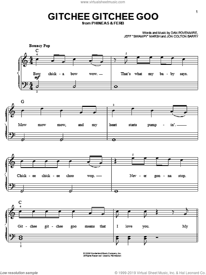 Gitchee Gitchee Goo sheet music for piano solo by Danny Jacob, Phineas And Ferb, Dan Povenmire, Jeff 'Swampy' Marsh and Jon Colton Barry, easy skill level