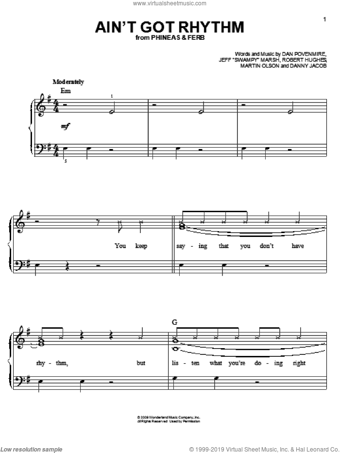 Ain't Got Rhythm sheet music for piano solo (chords) by Robert Hughes