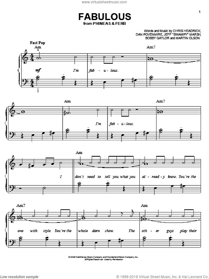 Fabulous sheet music for piano solo (chords) by Martin Olson